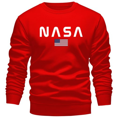 Bluza NASA męska bez kaptura czerwona