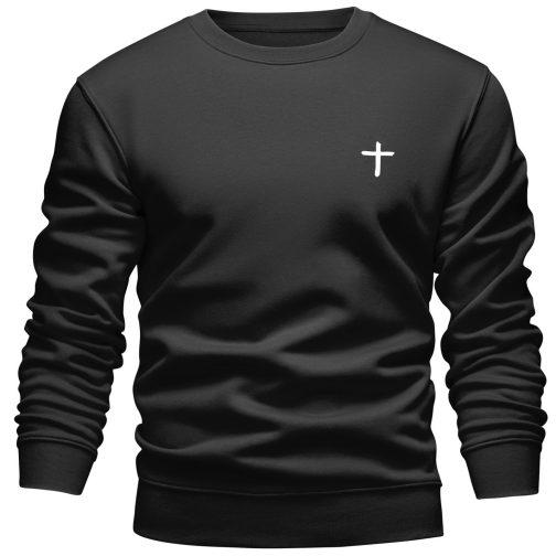 Bluza chrześcijańska z krzyżem męska bez kaptura czarna