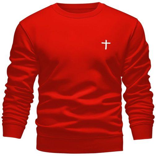 Bluza chrześcijańska z krzyżem męska bez kaptura czerwona