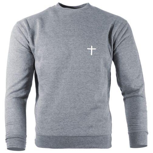 Bluza chrześcijańska z krzyżem męska bez kaptura szara