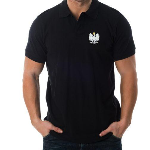 koszulka polo polówka męska patriotyczna czarna haft