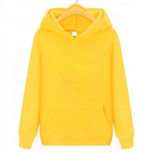 bluza damska z kapturem kangurka żółta