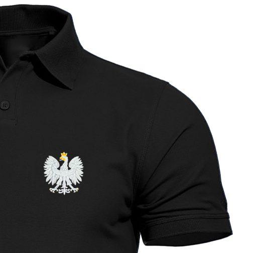 koszulka polo haft czarna patriotyczna