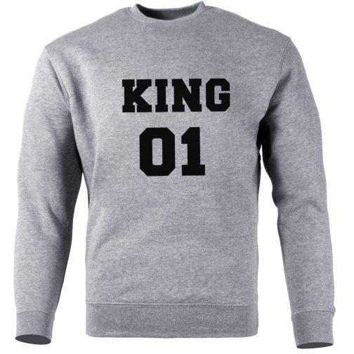 bluza bez kaptura king 01 król szara
