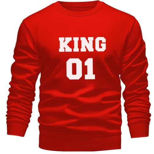 bluza bez kaptura king 01 król czerwona