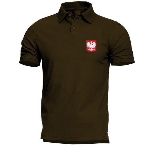 koszulka polo męska z godłem polski zielona