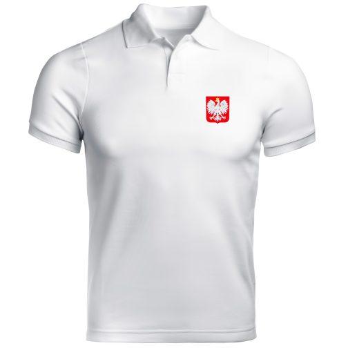 koszulka polo męska z godłem polski biała