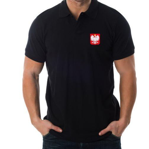 koszulka polo męska z godłem polski czarna