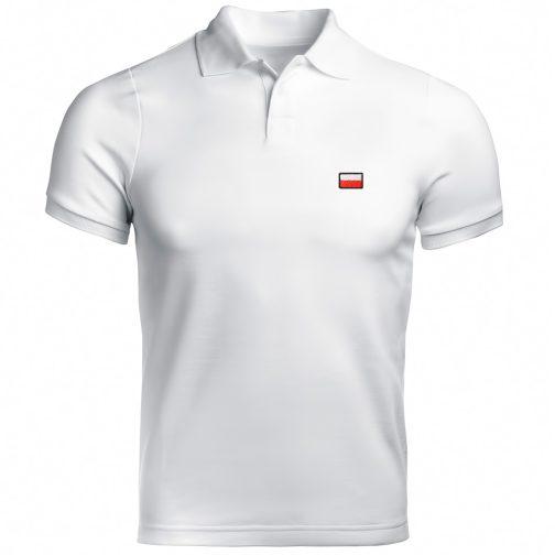 Haftowana Patriotyczna koszulka polo flagą polski biała