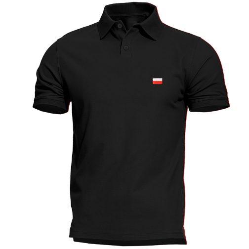 Haftowana Patriotyczna koszulka polo flagą polski czarna