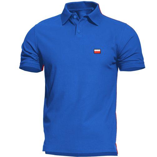 Haftowana Patriotyczna koszulka polo flagą polski niebieska