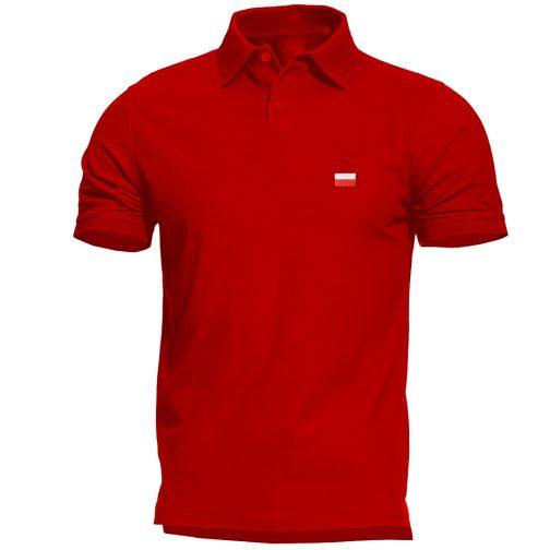 Haftowana Patriotyczna koszulka polo flagą polski czerwona