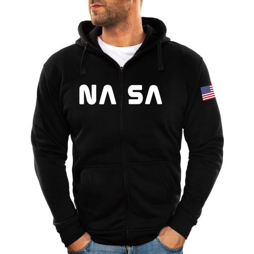 Modna męska bluza - NASA z kapturem rozpinana