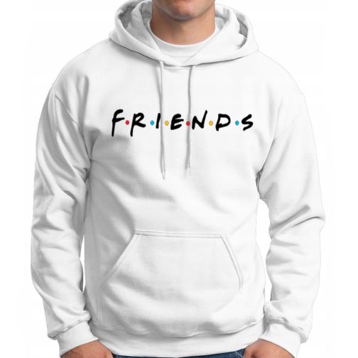 FRIENDS - Modna męska bluza z kapturem kangurka biała