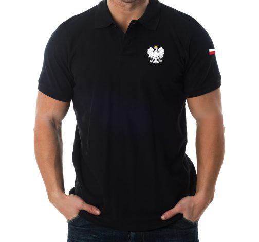 koszulka polo z orłem polski orzeł męska czarna