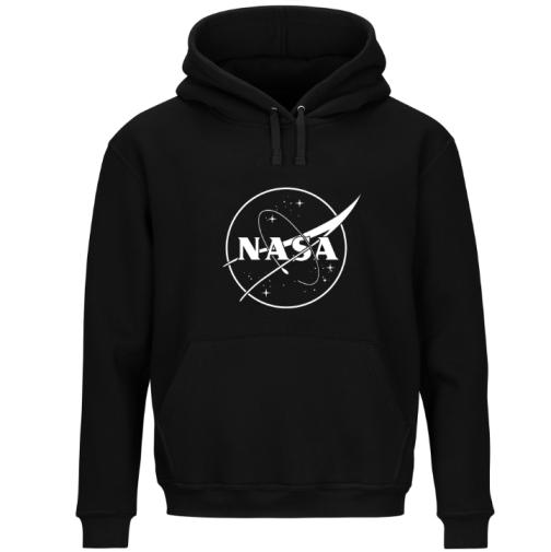 Modna męska bluza - NASA z kapturem kangurka czarna