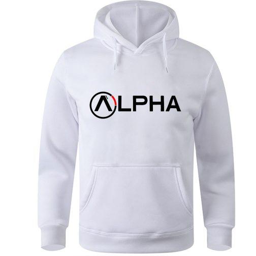 alpha bluza z kapturem męska biała kangurka