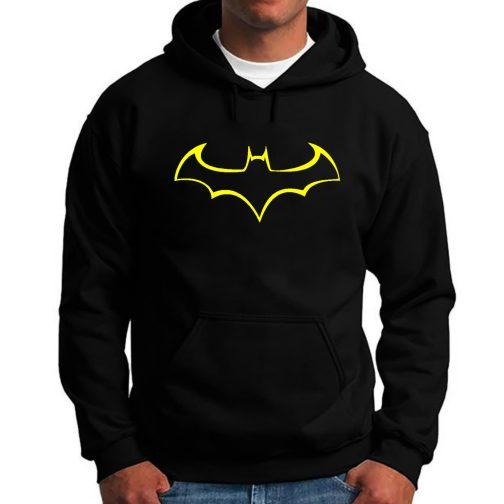 Batmann - Modna męska bluza z kapturem kangurka czarna
