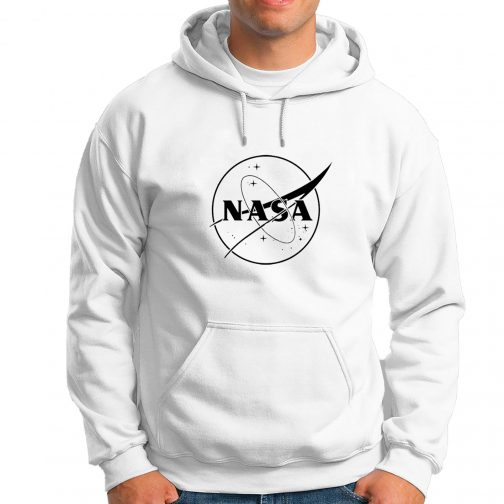 Modna męska bluza - NASA z kapturem kangurka biała