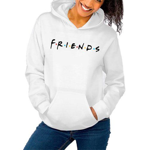 bluza damska przyjaciele friend kapturem biała