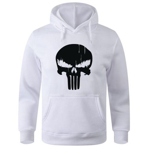 Punisher - Bluza męska z kapturem kangurka biała
