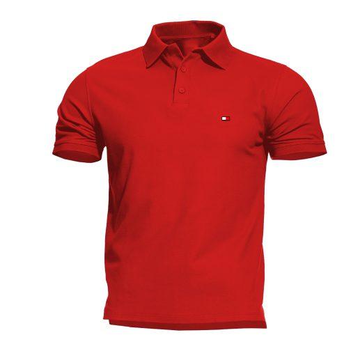 koszulka polo tommy black męska czerwona