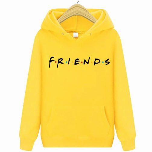 bluza damska przyjaciele friend kapturem żółta
