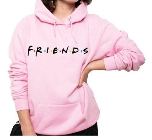 bluza damska przyjaciele friend kapturem różowa