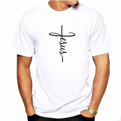 t-shirt chrześcijańska męska koszulka z jezusem biała