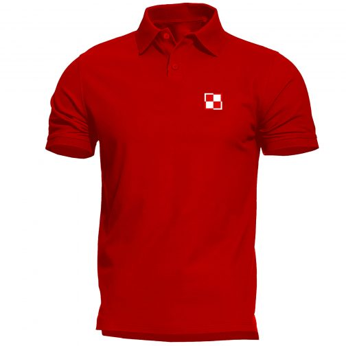 koszulka polo meska patriotyczna szachownica lotnicza czerwona