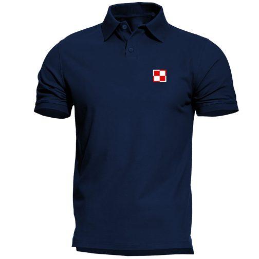 koszulka polo meska patriotyczna szachownica lotnicza granatowa
