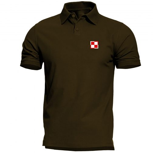 koszulka polo meska patriotyczna szachownica lotnicza khaki