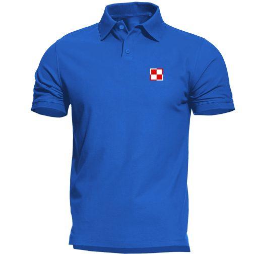 koszulka polo meska patriotyczna szachownica lotnicza niebieska