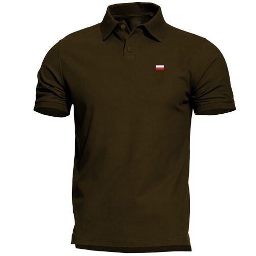 Męska koszulka Patriotyczna Polo z flagą Polski zielona wojskowa