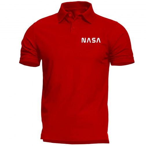 nasa alpha polo męska koszulka czerwona