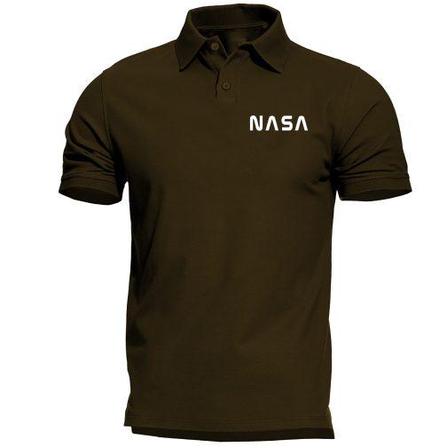nasa alpha polo męska koszulka zielona wojskowa