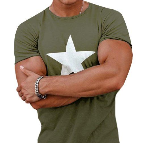 AMERICAN STAR - Modny T-SHIRT koszulka męska zielona