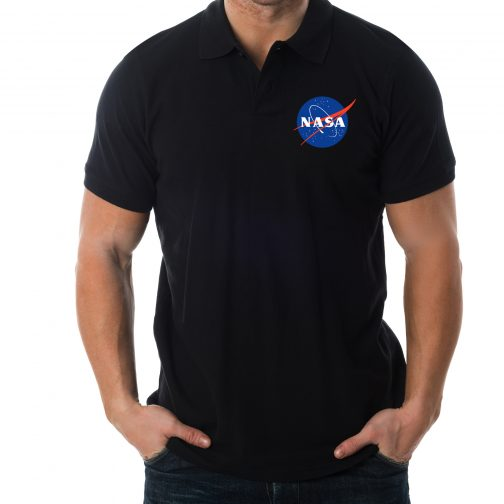 czarna męska koszulka polo nasa