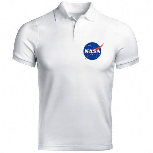 biała męska koszulka polo nasa
