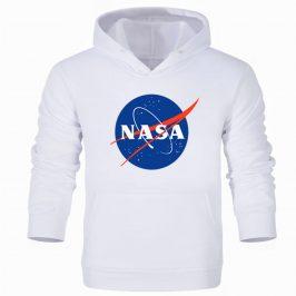 Bluza NASA męska z kapturem – biała kangurka
