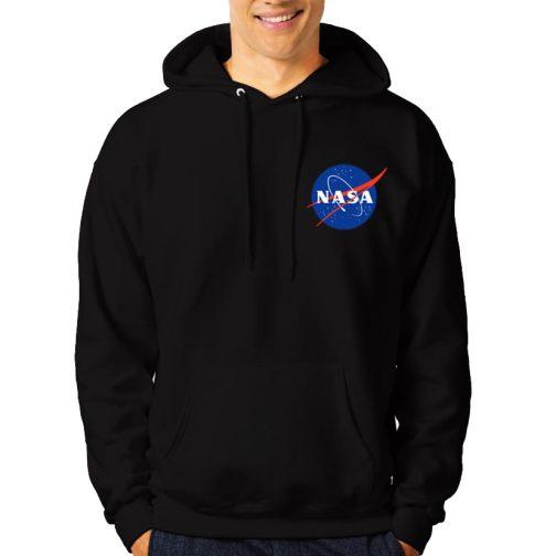 NASA - Modna męska bluza z kapturem kangurka czarna