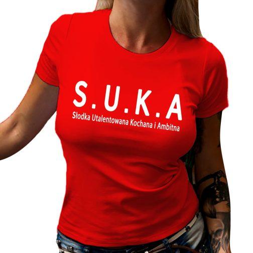 s.u.k.a koszulka damska z modnym z nadrukiem t shirt suka