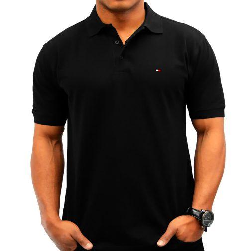 koszulka polo tommy black męska czarna