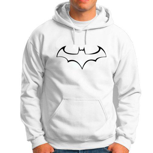 Batmann - Modna męska bluza z kapturem kangurka biała
