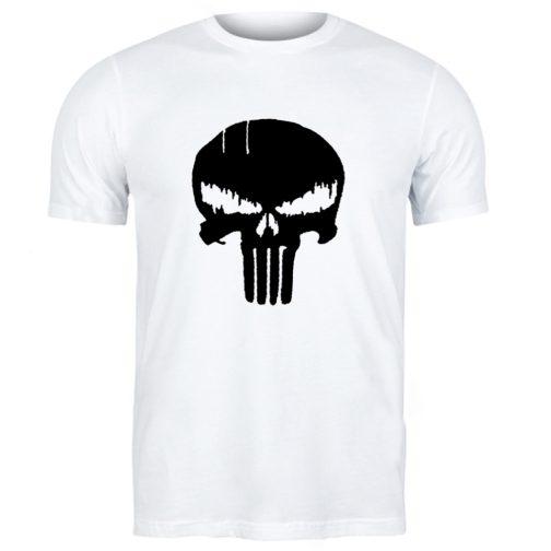 Punisher Marvel - męska koszulka t-shirt z czaszką biała