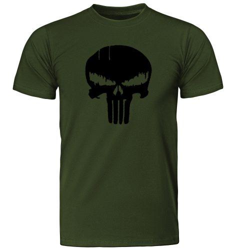 Punisher Marvel - męska koszulka t-shirt z czaszką zielona