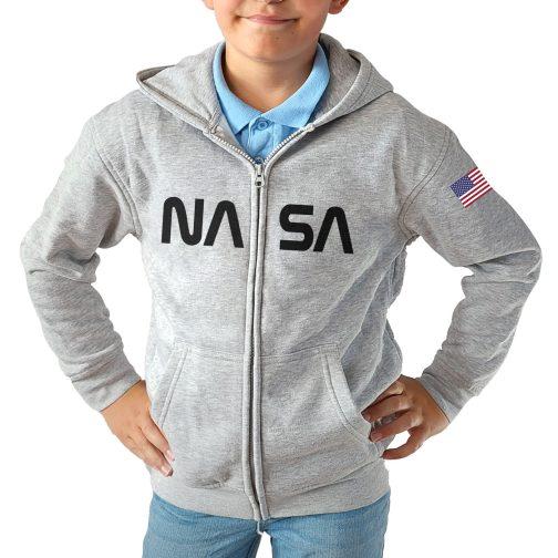 bluza dla chłopca nastolatka rozpinana kapturem nasa szara