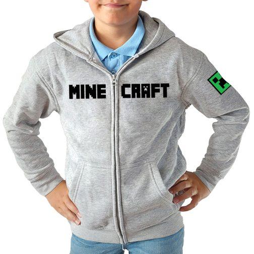 minecraft bluza chłopca dziecka z kappturem rozpinana szara