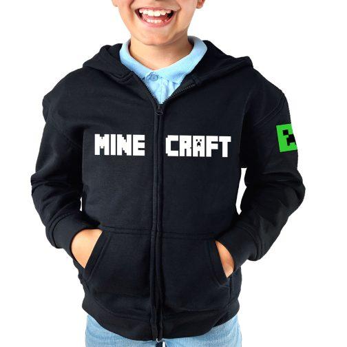 minecraft bluza chłopca dziecka z kappturem rozpinana czarna