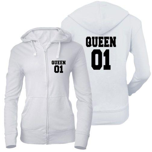 bluza damska rozpinana zamek queen 01 królowa biała